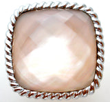 Honora Mother-of-Pearl Oval Faceted Doublet Sterling Ring - The Jewelry Lady's Store