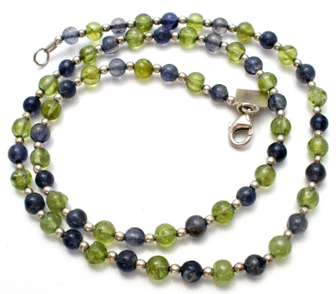 Peridot and Amethyst Bead Necklace 925 Baroni Designs