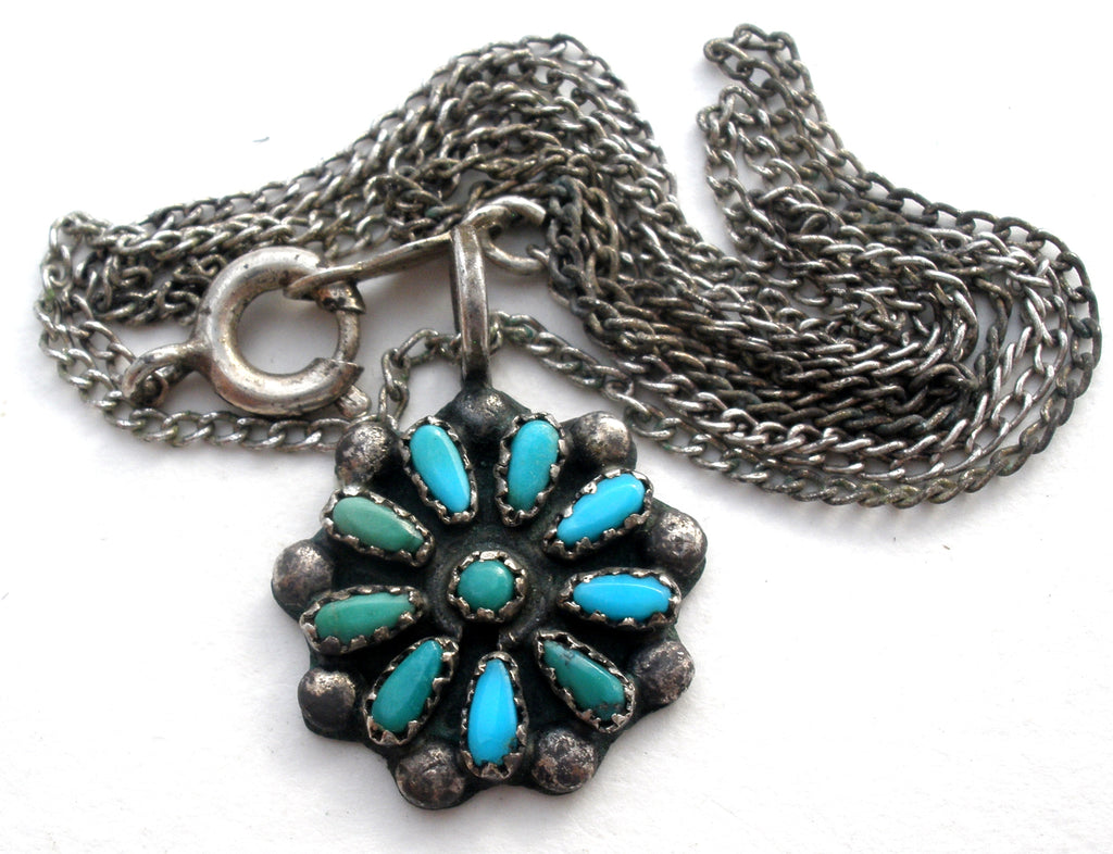 Petit Point Turquoise Necklace Vintage - The Jewelry Lady's Store