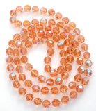 "Pink Crystal Bead Necklace 42"" Vintage - The Jewelry Lady's Store"