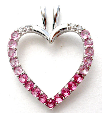 Pink Cubic Zirconia Sterling Silver Heart Pendant