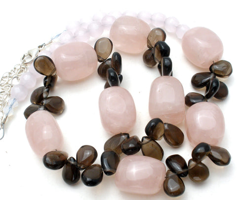 Pink Rose & Brown Quartz Bead Necklace 18""