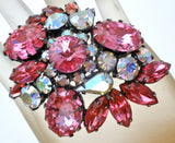 Pink & Clear Rhinestone Brooch Pin Vintage - The Jewelry Lady's Store