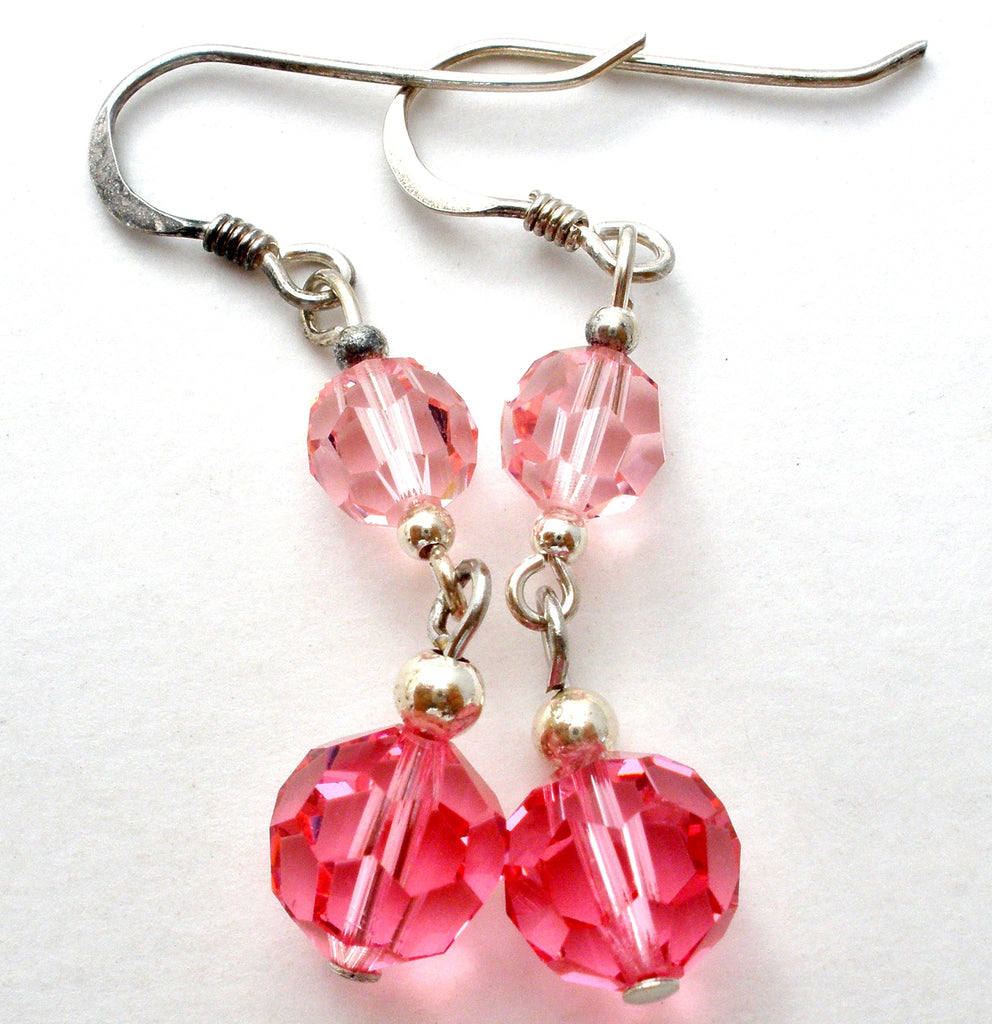 Pink Crystal Bead Earrings Sterling Silver - The Jewelry Lady's Store