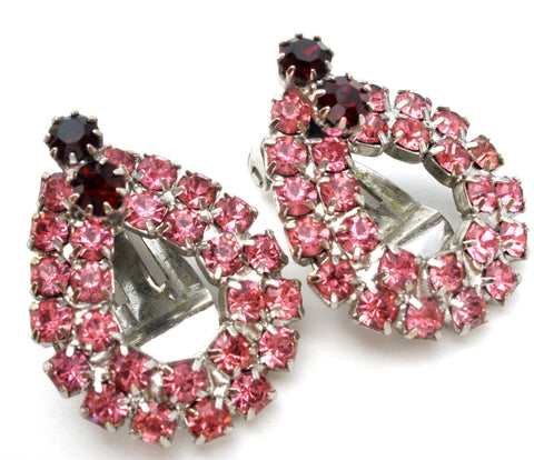 Pink & Red Rhinestone Earrings Vintage