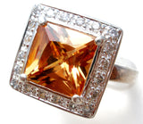 Princess Cut Yellow Gold CZ Halo Ring Size 8 - The Jewelry Lady's Store