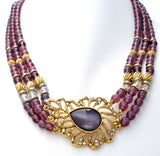 Purple Bead & Rhinestone Necklace by 1928 Co. - The Jewelry Lady's Store