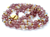 Purple Glass Bead Multi Strand Bead Necklace - The Jewelry Lady's Store