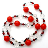 Red Black & Silver Lucite Bead Necklace - The Jewelry Lady's Store