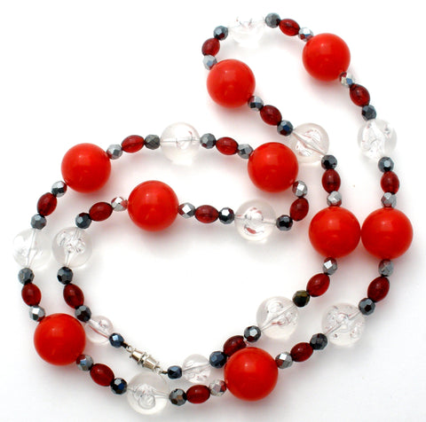 Red Black & Silver Lucite Bead Necklace