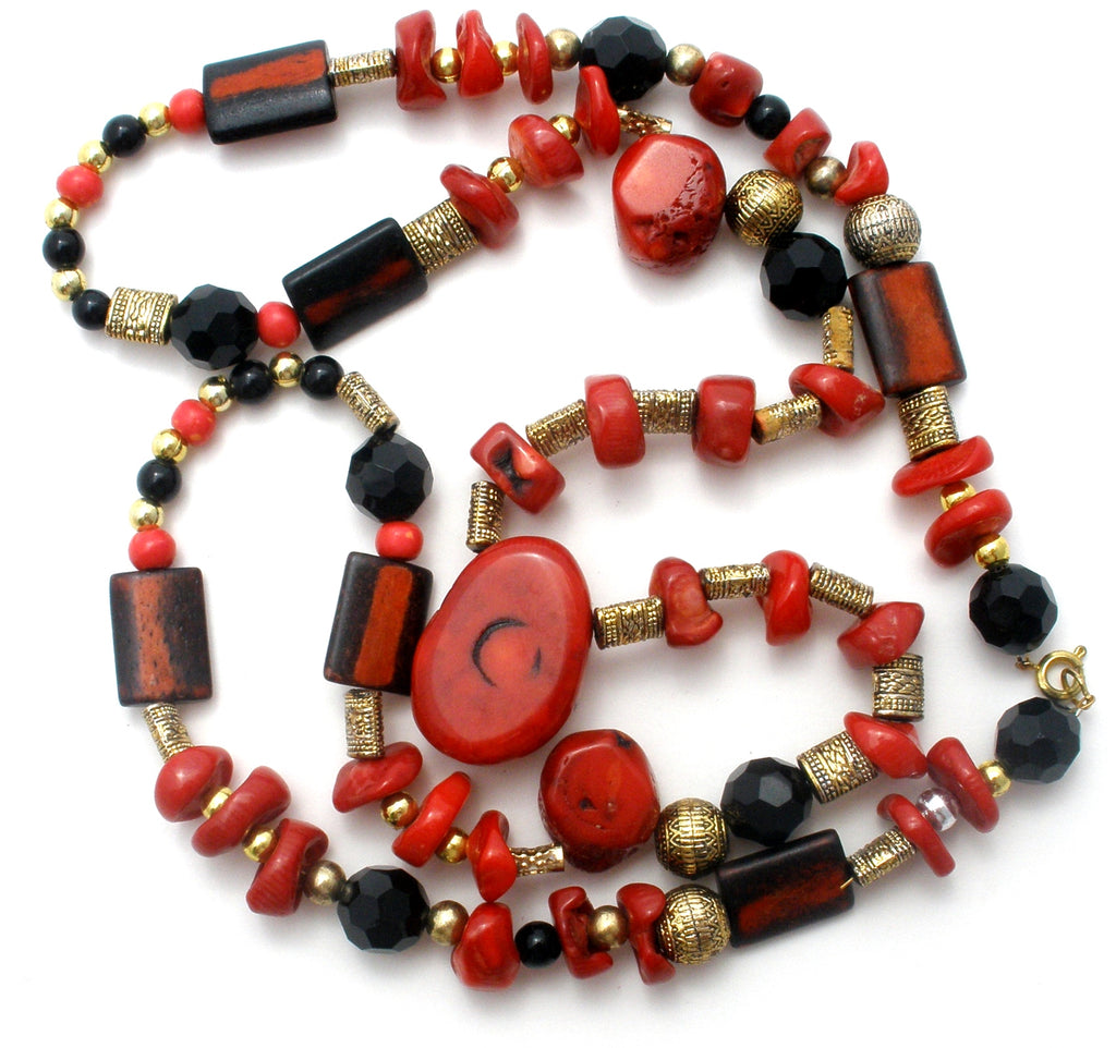 Red Coral & Black Onyx Bead Necklace - The Jewelry Lady's Store