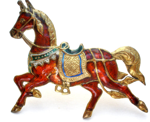 Red Enamel Siam Horse Brooch Pin 925