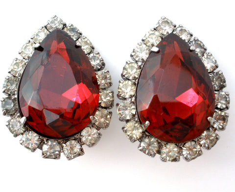 Red Rhinestone Earrings Vintage Clip On