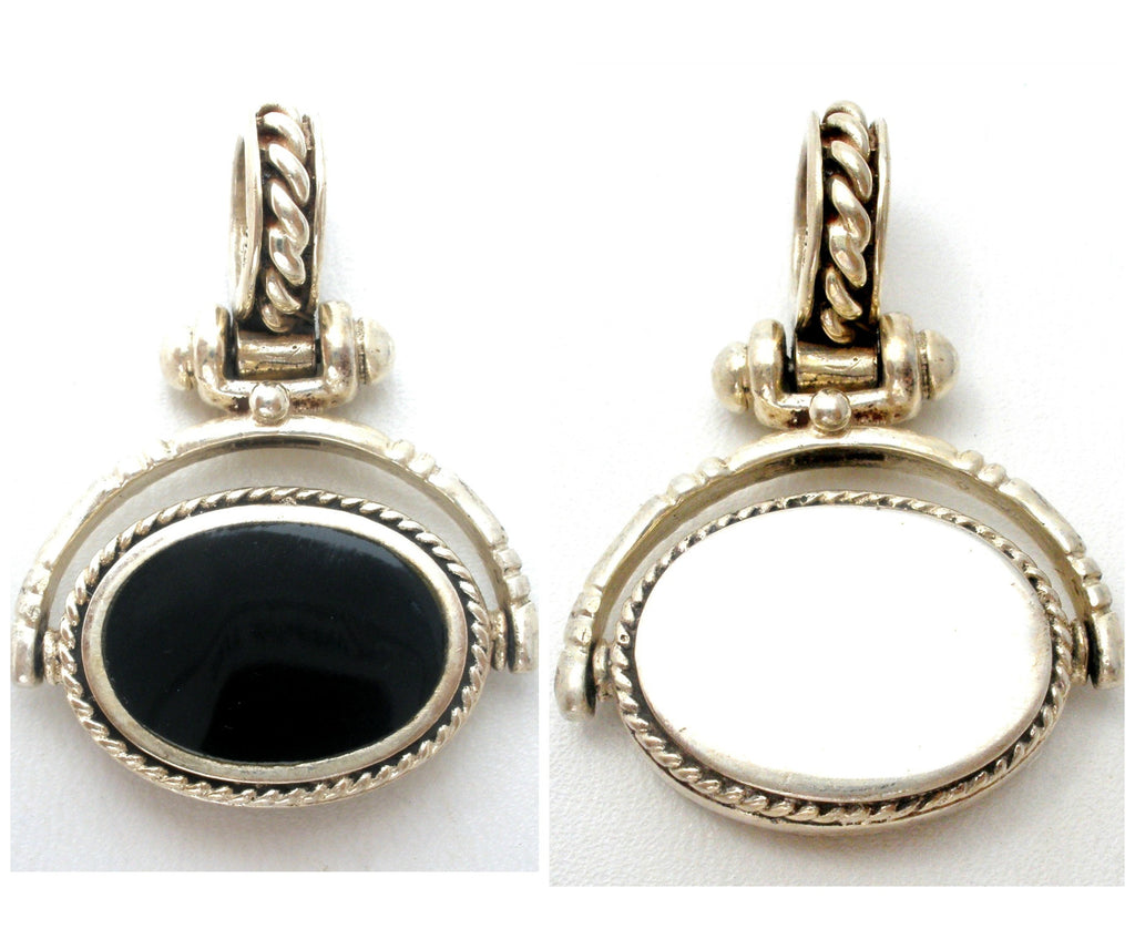 Reversible Pendant Sterling Silver Black Onyx Engravable - The Jewelry Lady's Store