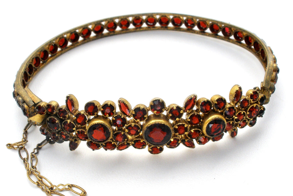 Victorian Bangle Bracelet with Rose Cut Bohemian Garnets - The Jewelry Lady's Store