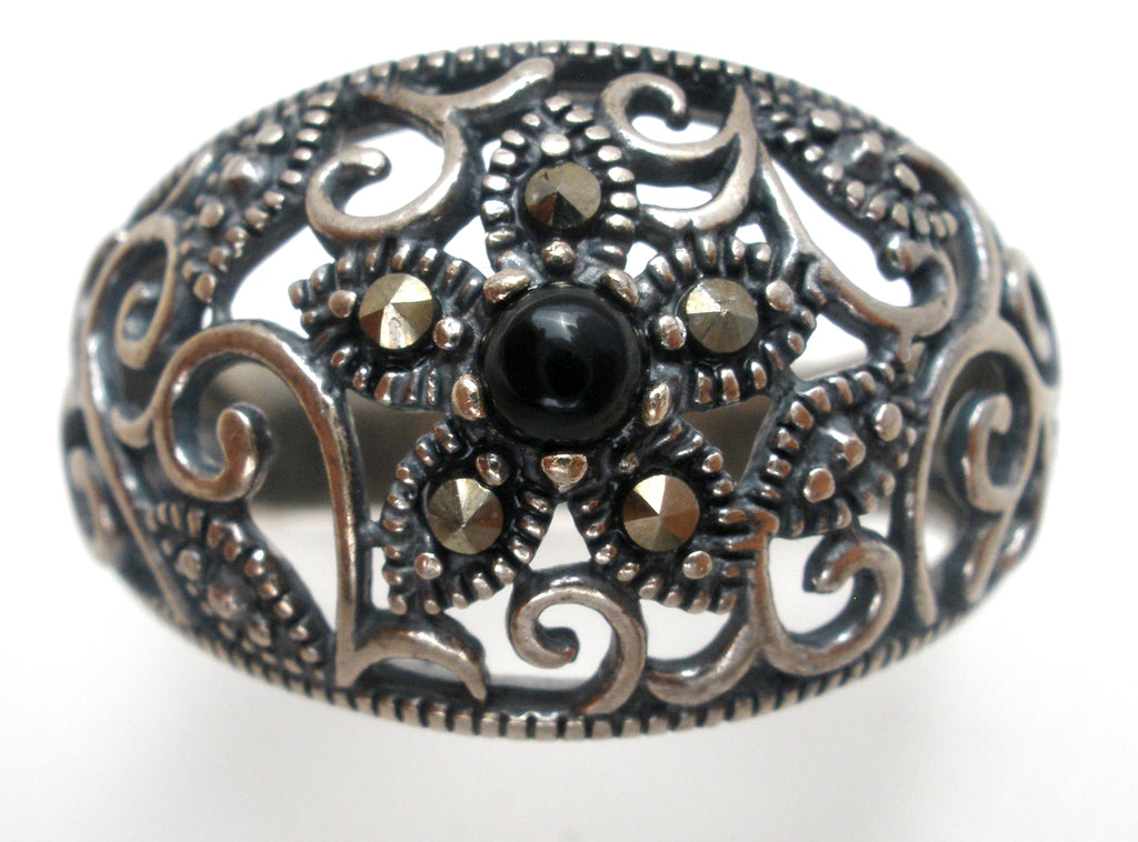 Ross Simons Black Onyx Ring Sterling Silver Size 8 - The Jewelry Lady's Store