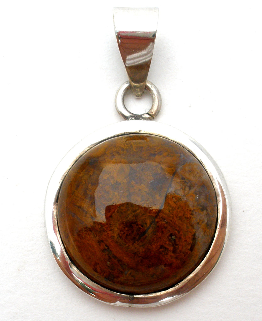 Round Jasper Gemstone Pendant Sterling Silver - The Jewelry Lady's Store