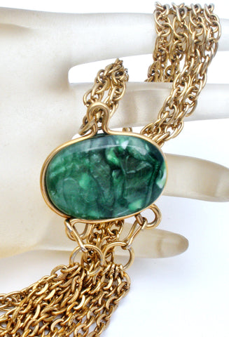 Sarah Coventry Necklace with Green Stone