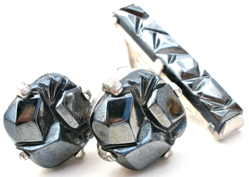 Sarah Coventry Hematite Cufflinks & Tie Bar Set Vintage - The Jewelry Lady's Store