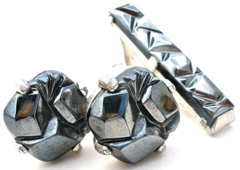 Sarah Coventry Hematite Cufflinks & Tie Bar Set Vintage