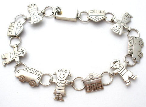 School Bracelet with Children and Buses 925