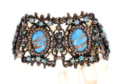 Blue Foiled Rhinestone Bracelet Vintage Jewel Creation - The Jewelry Lady's Store