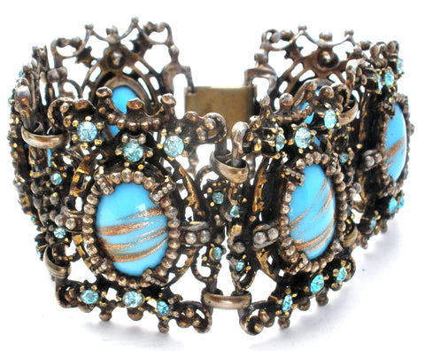 Blue Foiled Rhinestone Bracelet Vintage Jewel Creation