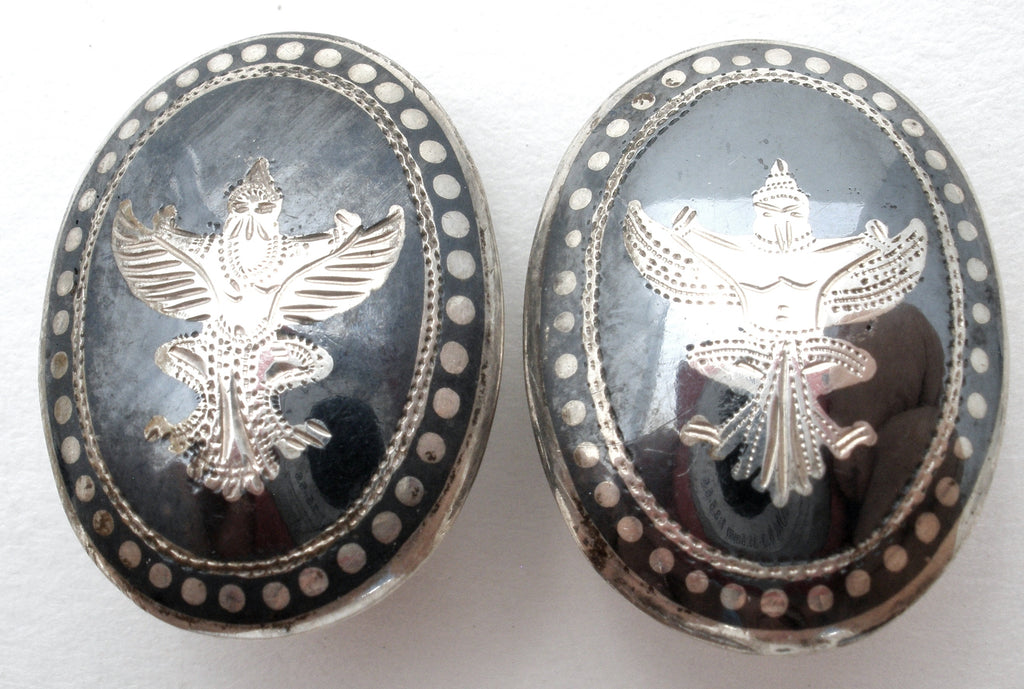 Siam Garuda Black Enamel Earrings Vintage - The Jewelry Lady's Store