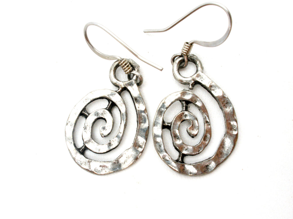 Silver Dangle Spiraling Earrings Pierced - The Jewelry Lady's Store