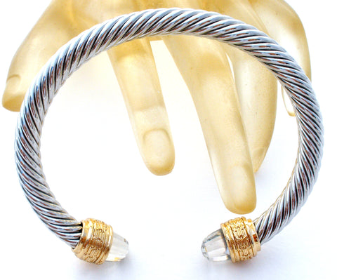 Silver & Gold Plated Cable Cuff Bracelet