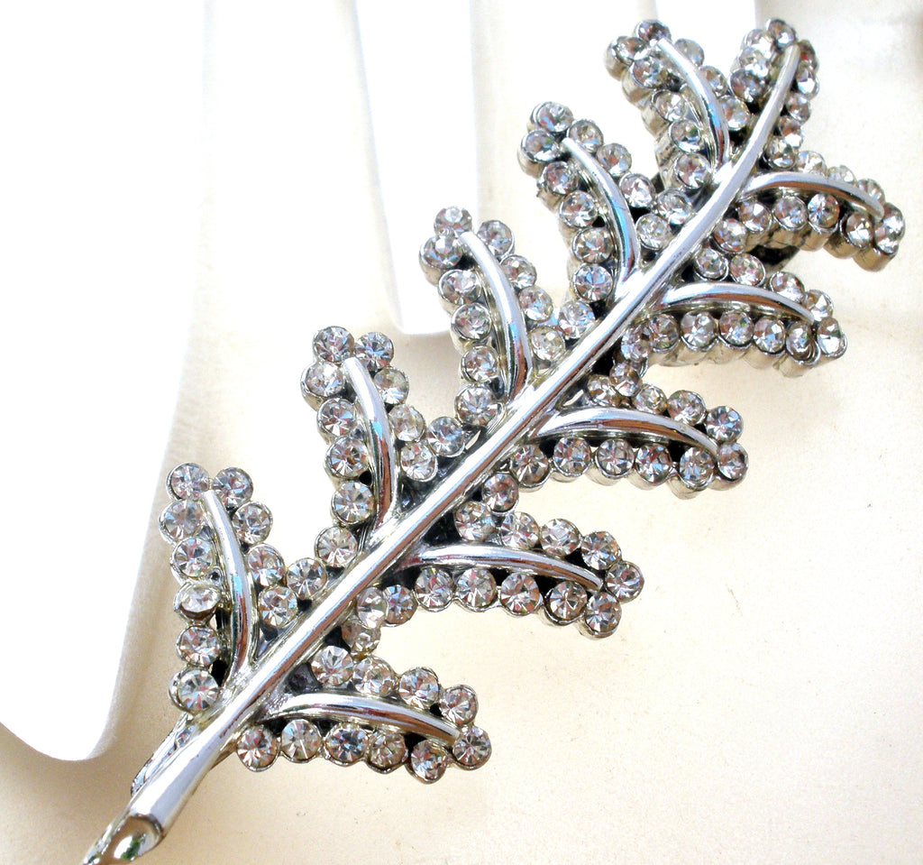Silver Leaf Hair Clip Pin with Clear Rhinestones - The Jewelry Lady's Store