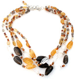 Smoky Quartz & Citrine Bead Necklace 925 - The Jewelry Lady's Store