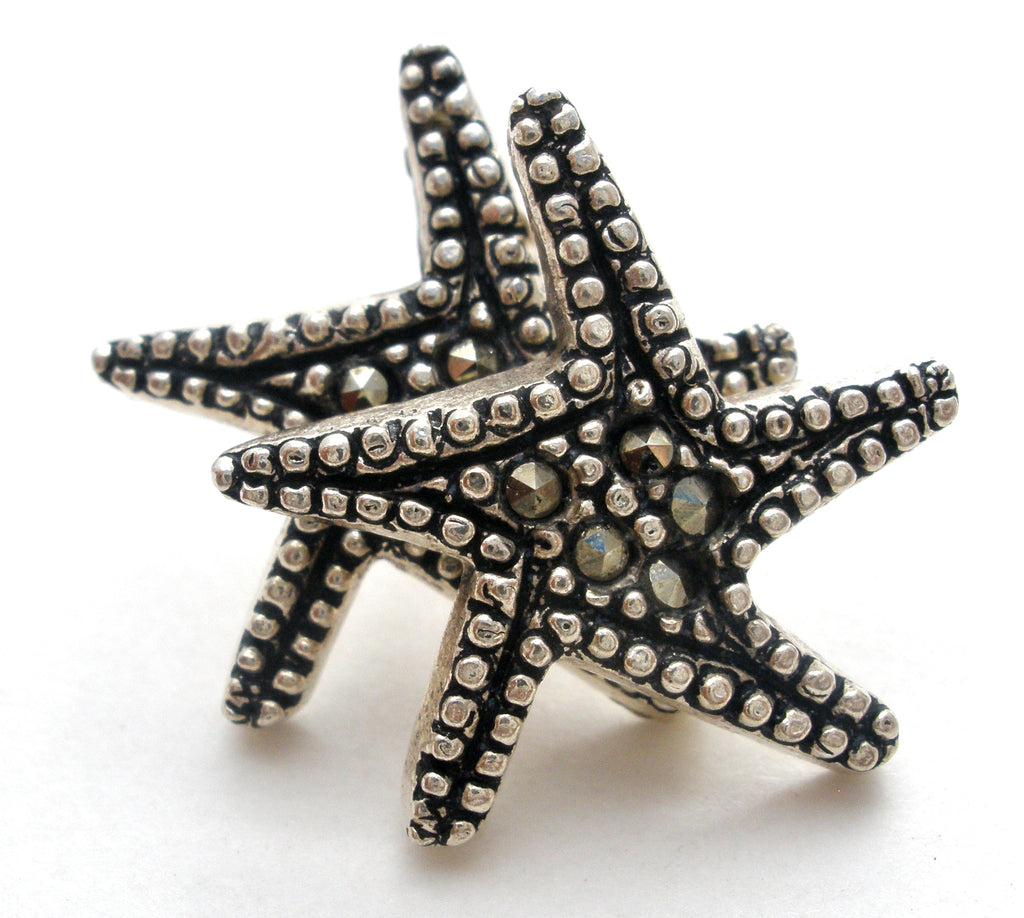 Star Earrings with Marcasites Vintage - The Jewelry Lady's Store