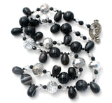 "Vintage Art Glass Black Brown Bead Necklace 32"" - The Jewelry Lady's Store"