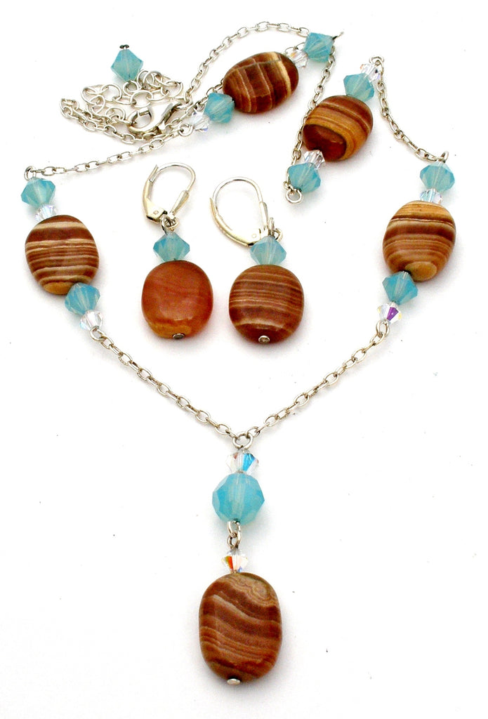 Sterling Silver Banded Agate Lavalier Necklace Set - The Jewelry Lady's Store
