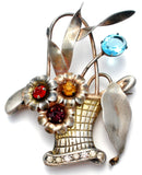 Sterling Silver Basket of Flowers Brooch Pin Vintage - The Jewelry Lady's Store