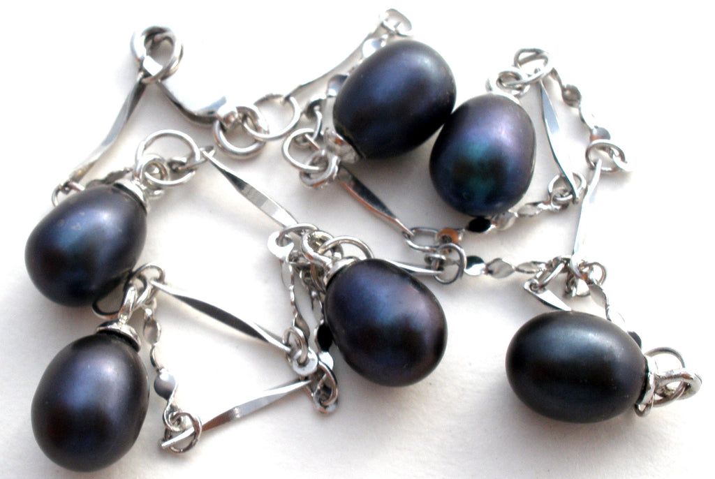 "Sterling Silver Blue Pearl Bracelet 9"" - The Jewelry Lady's Store"