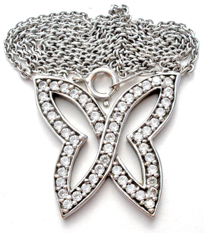 Sterling Silver CZ Butterfly Necklace 17""
