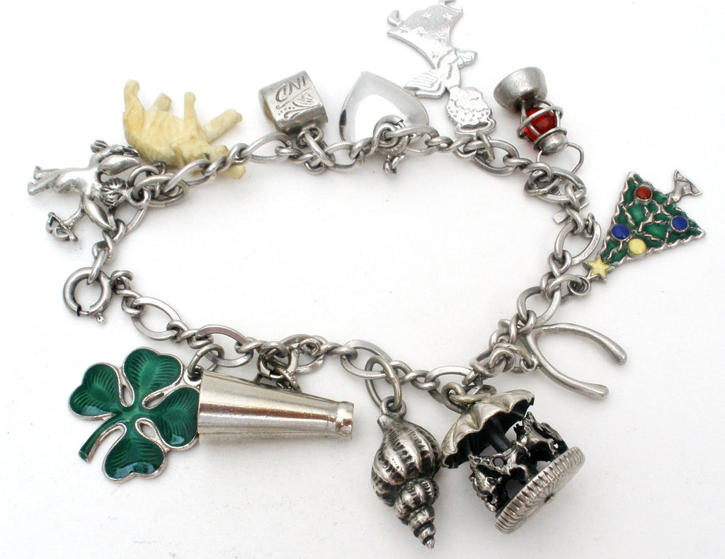 Sterling Silver Charm Bracelet with Charms Vintage - The Jewelry Lady's Store