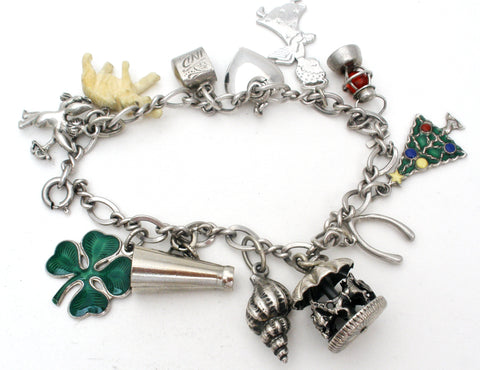 Sterling Silver Charm Bracelet with Charms Vintage