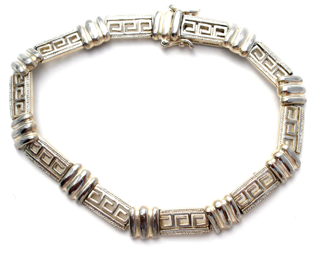 Sterling Silver Greek Key Bracelet Vintage - The Jewelry Lady's Store
