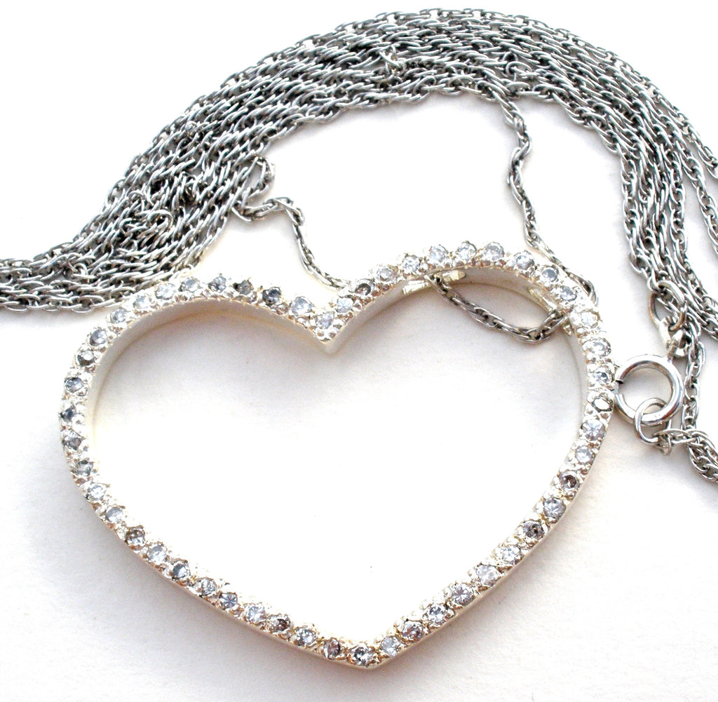 Sterling Silver Heart Necklace with CZ's - The Jewelry Lady's Store