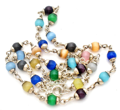 Sterling Silver Multi Color Cats Eye Bead Necklace