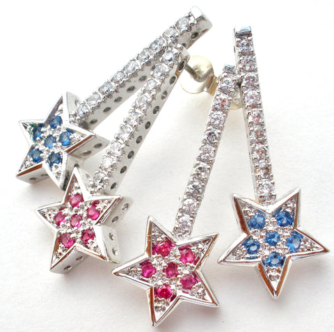 Sterling Silver Star Earrings with Cubic Zirconias