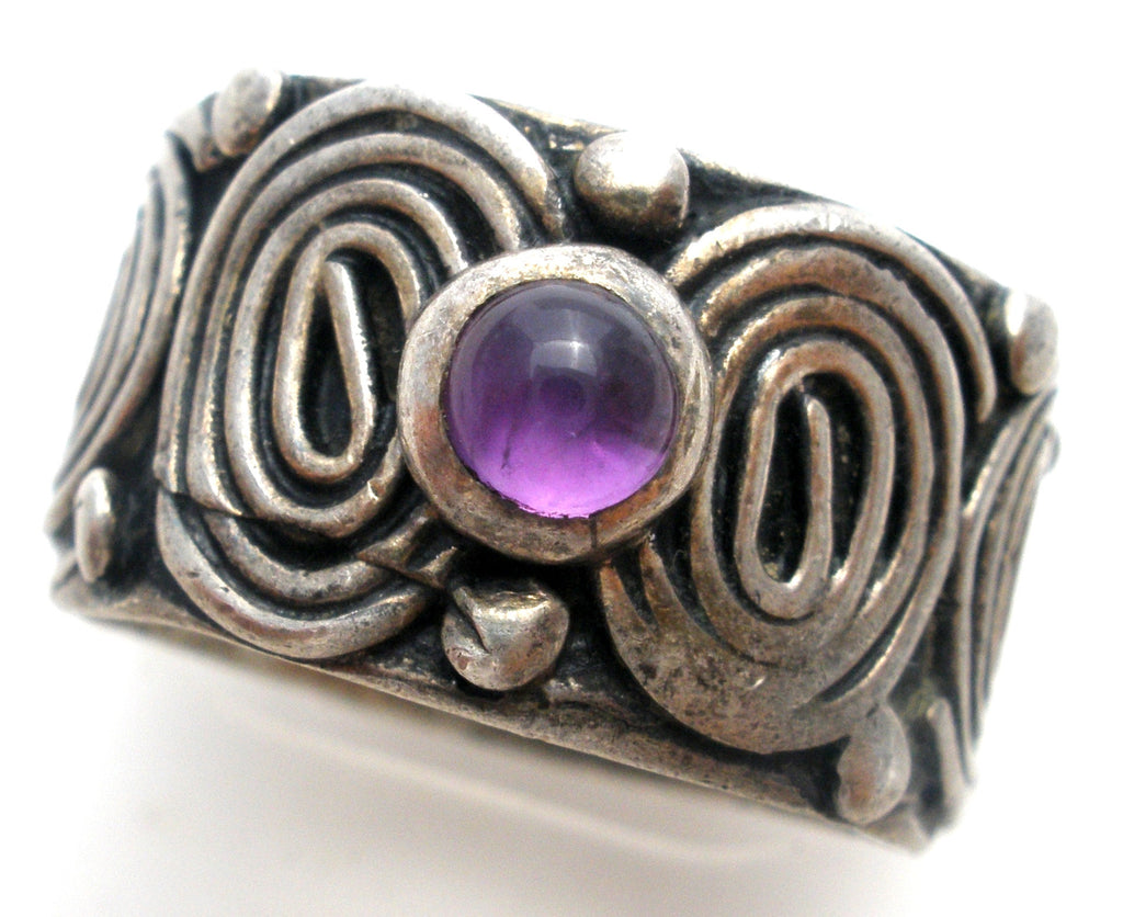 Sterling Silver Amethyst Wide Ring Size 5