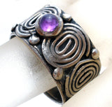 Sterling Silver Amethyst Wide Ring Size 5 - The Jewelry Lady's Store