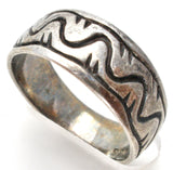 Sterling Silver Band Overlay Technique Ring Size 7 - The Jewelry Lady's Store
