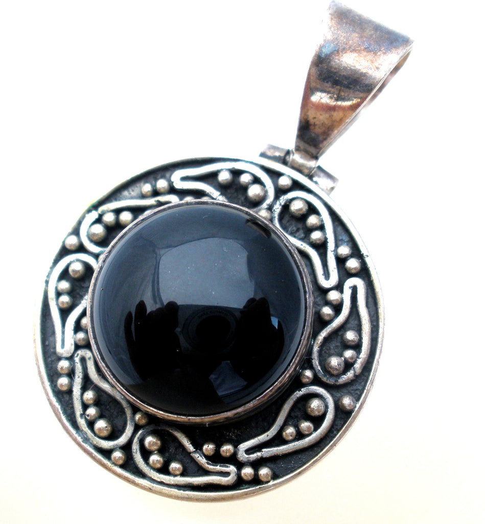 Sterling Silver Black Onyx Pendant Slide Vintage - The Jewelry Lady's Store - 1