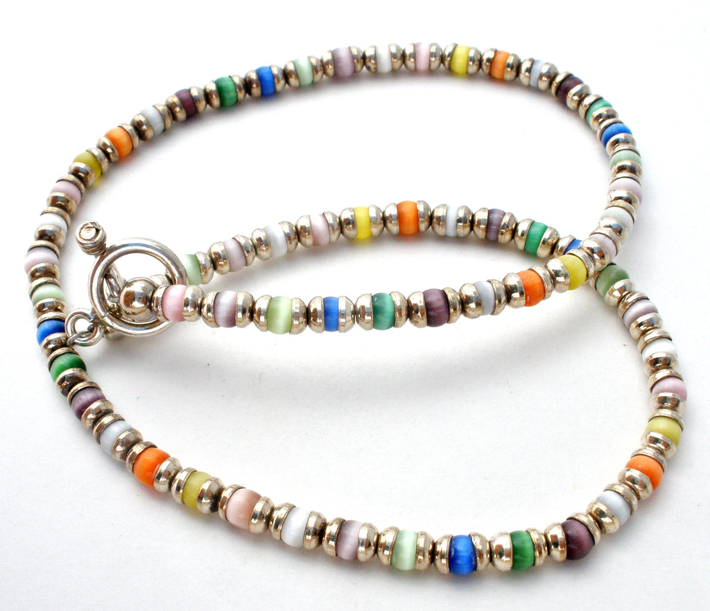 Sterling Silver & Cats Eye Bead Necklace Vintage - The Jewelry Lady's Store