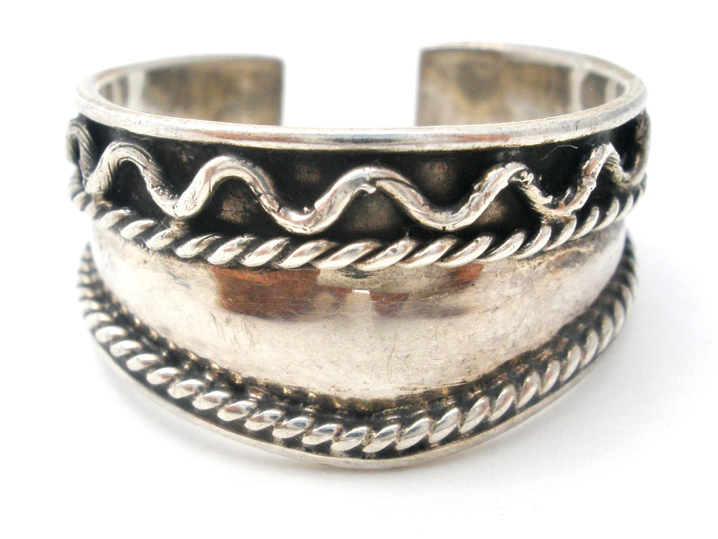 Sterling Silver Wide Band Ring Vintage - The Jewelry Lady's Store